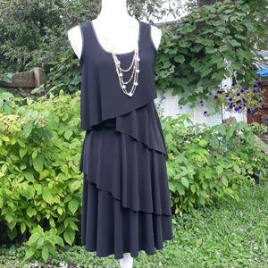 Tiana B. 4 tier black sleeveless dress